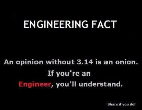 Engineering fact 1 – opinion without 3.14 is onion!